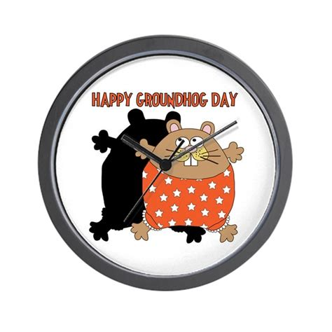 groundhog day clock happy groundhog day wall clock by peacockcards