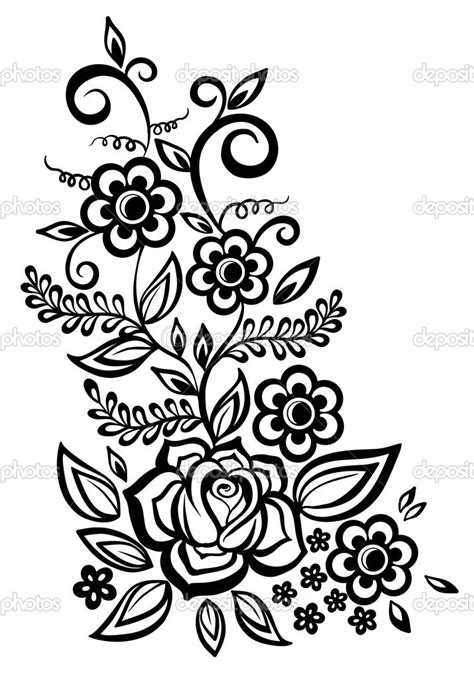 flower pattern black and white clipart black and white flower designs cliparts co