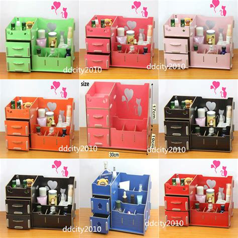 Diy Wooden Storage Box Cosmetics Multifunctional Organizer Desk Organization Diy