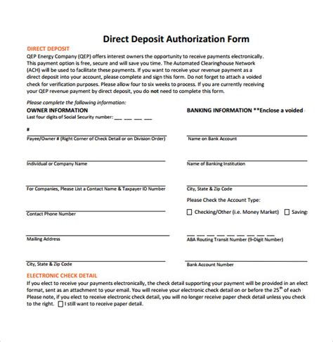 authorization letter to deposit format sle direct deposit authorization form 7