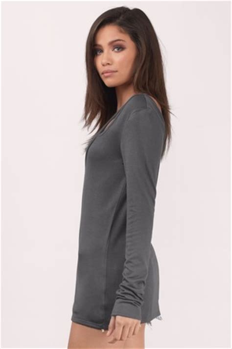 V Basic Grey Top trendy grey basic top grey top v top 54 00