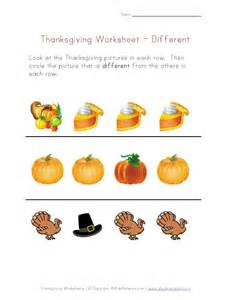 thanksgiving preschool concepts worksheet different