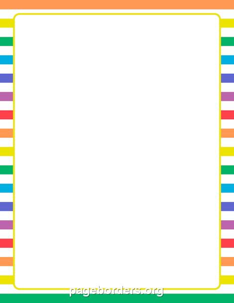 printable rainbow and white striped border use the border