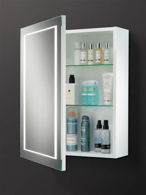 mirror cabinet bathroom hib austin single door led back lit illuminated cabinet