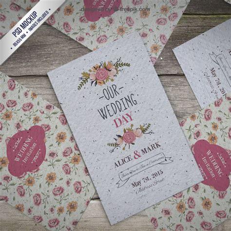 Wedding Invitation Mockup Free by Floral Wedding Invitation Mockup Psd File Free