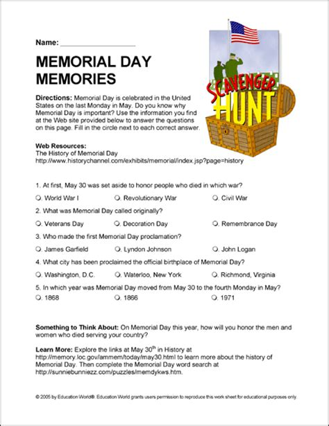 memorial day printable activity sheets internet scavenger hunt history of memorial day
