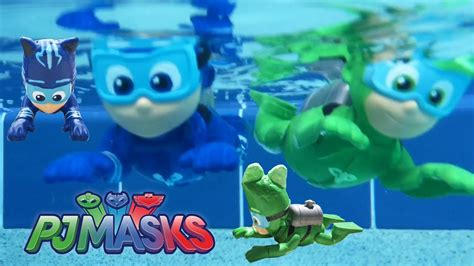 Home Made Party Decorations pj masks gekko swimming at pool party chases romeo with