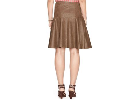 ralph twill faux leather skirt in brown lyst