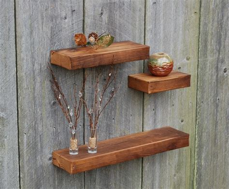set of three chestnut floating shelves rustic display