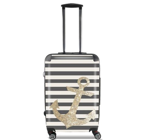 cabin luggage gold glitter anchor in black for lightweight luggage