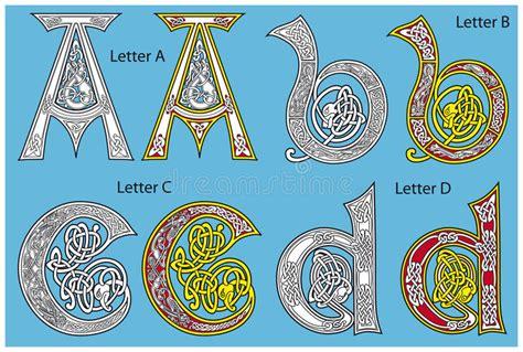 alfabeto celtico lettere alfabeto celtico antico illustrazione vettoriale