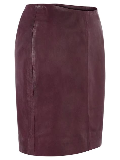 azka leather fitted skirt in