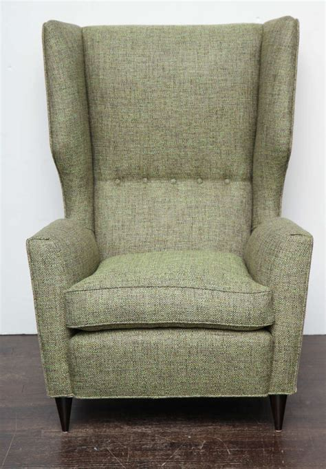 fantastic pair of high back wing chairs at 1stdibs