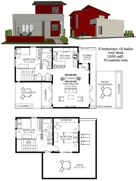 housing floor plans modern contemporary small house plan 61custom contemporary