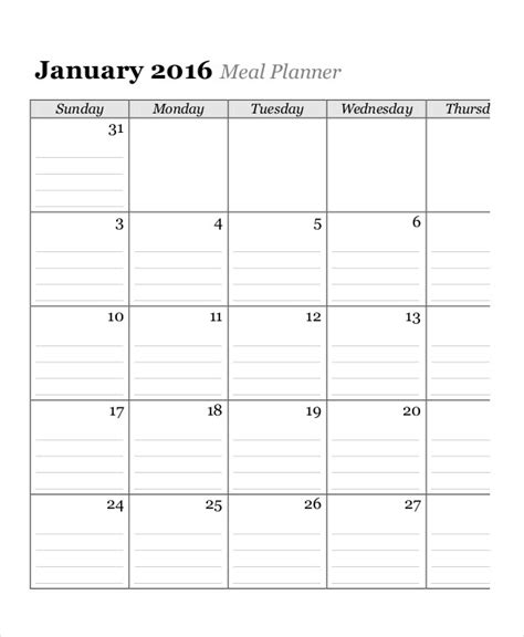 monthly meal calendar template monthly calendar 13 free word pdf documents