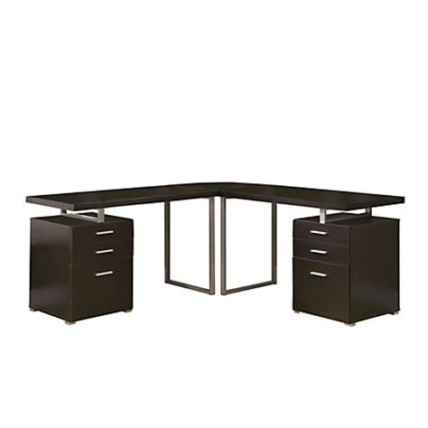 L Shaped Desk With File Drawers Monarch Specialties L Shaped Computer Desk With File Drawers Cappuccino By Office Depot Officemax