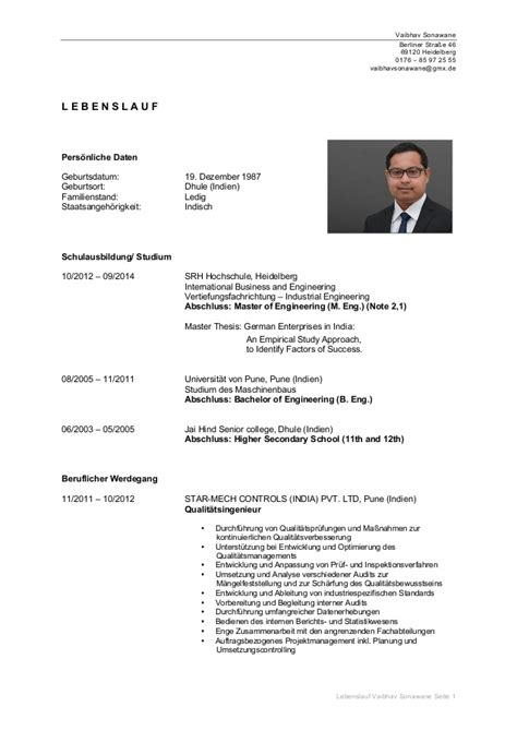 Lebenslauf Schweiz Student Lebenslauf Vaibhav Sonawane