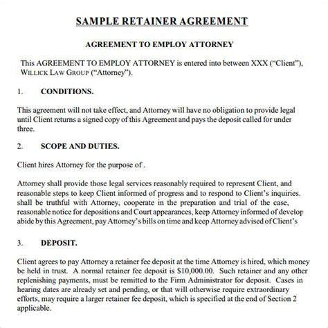 Retainer Agreement Letter Sle Retainer Agreement 9 Free Documents In Pdf