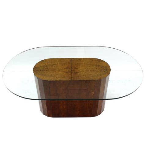 Glass Top Dining Tables With Wood Base Large Burl Wood Base Thick Glass Top Oval Dining Table At 1stdibs