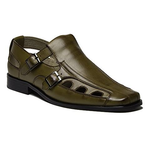 mens closed toe leather dress sandals new s 33308 leather lined buckle closed toe