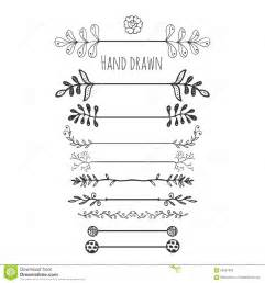 hand drawn floral elements collection hand drawn border with ink doodle decoration retro style