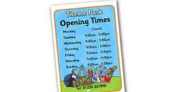 theme park opening times theme park role play pack theme park role play role play