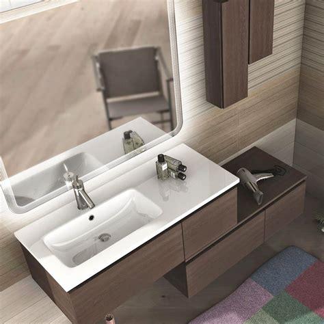 mobili con lavabo bagno mobile sospeso moderno rovere scuro 100 cm lavabo resina