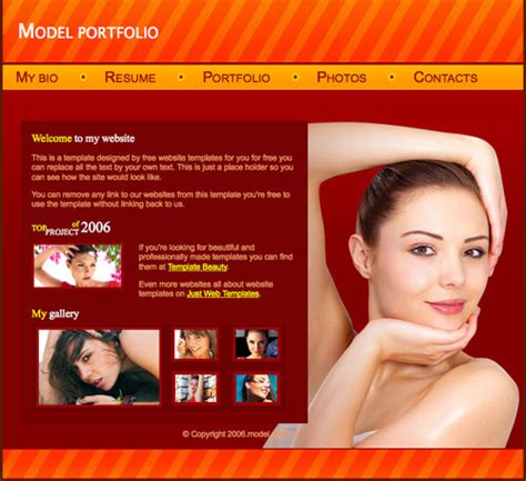 model bio template model portfolio template free website templates