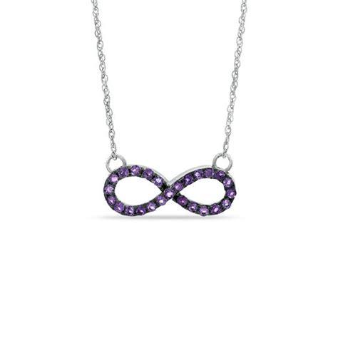 amethyst sideways infinity necklace in sterling silver