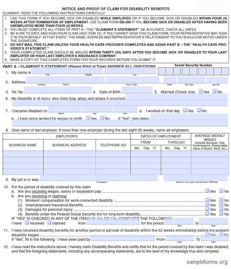 disability form state disability form sle forms