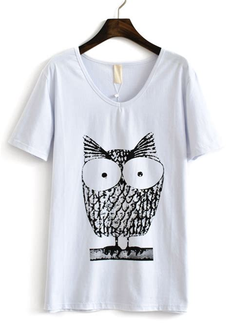 Sleeve Owl Print T Shirt white owl print v neck sleeve cotton t shirt tops