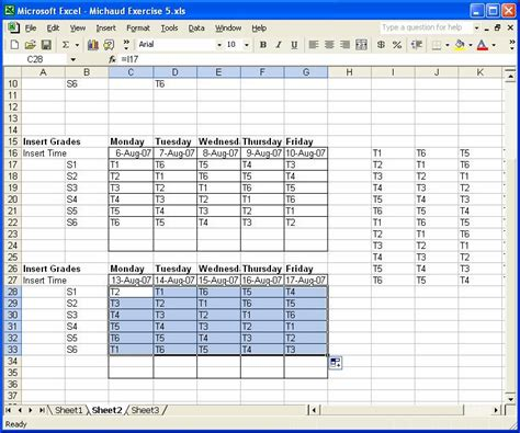 5 day calendar template excel excel exercise 5