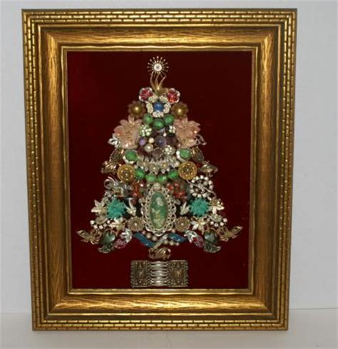 vintage costume jewelry framed christmas tree ebay