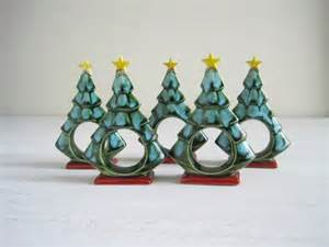 vintage christmas tree napkin rings by goldendaysantiques