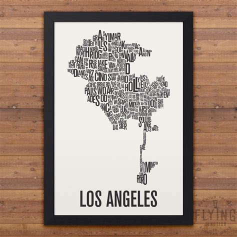 map of los angeles poster los angeles neighborhood typography city map print