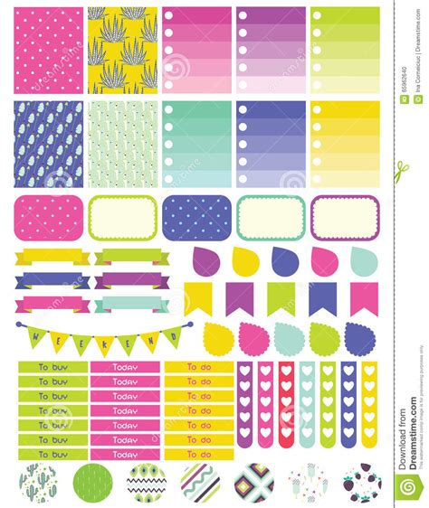 printable planner set color printable planner set stock photography