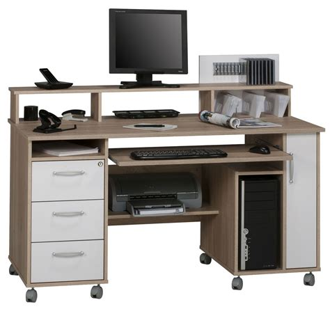 Maja Exeter Oak White Computer Desk Computer Desks White