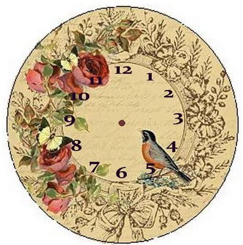 Decoupage Clock - reloj vintage fondos de reloj vintage o shabby chic para