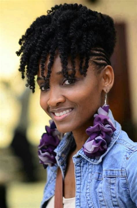 twist hair styles to cover bangs tiny small braids in the sides with unraveled two strand