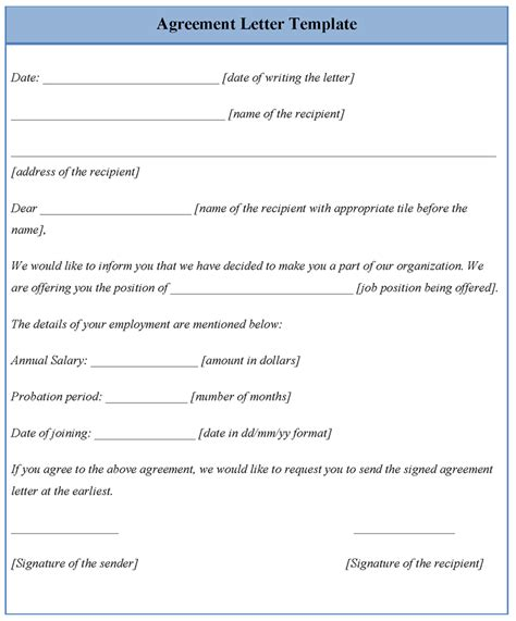 agreement letter template of agreement letter sle templates