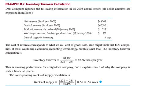 sle turnover report solved exle 11 2 inventory turnover calculation dell