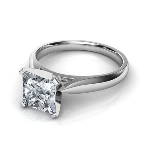 Solitaire Engagement Ring by Tapered Cathedral Princess Cut Solitaire Engagement Ring