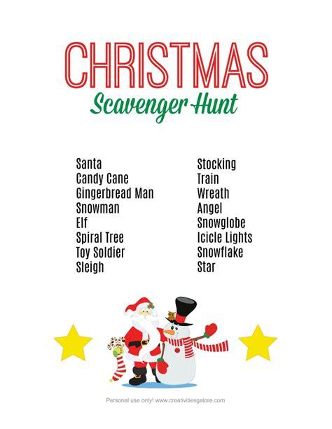 printable reindeer scavenger hunt free christmas scavenger hunt printable creativities galore