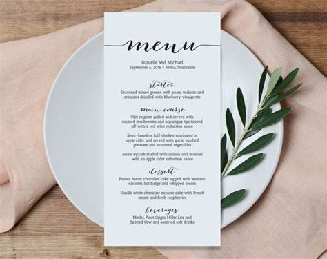 menu templates for weddings wedding menu printable template printable menu menu