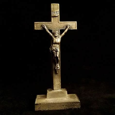 elegant metal tabletop crucifix the vintage catholic