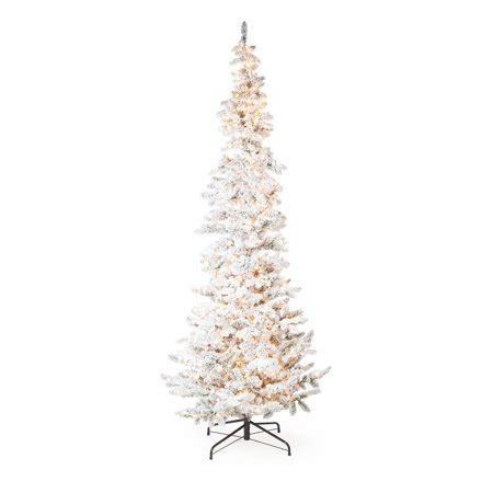 12 ft slim flocked christmas tree narrow flocked pine pre lit slim tree walmart