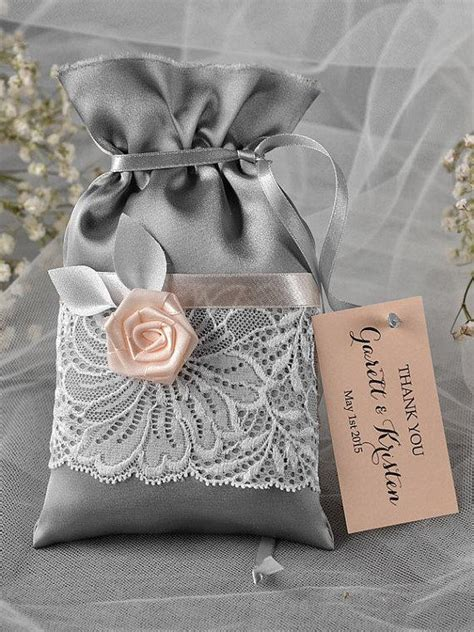 simply favours wedding favours and thank you gifts in custom listing 100 grey and peach wedding favor bag