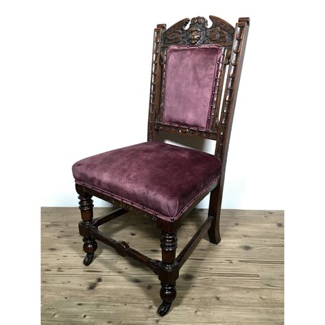 victorian dark oak carved lion musk dining chairs