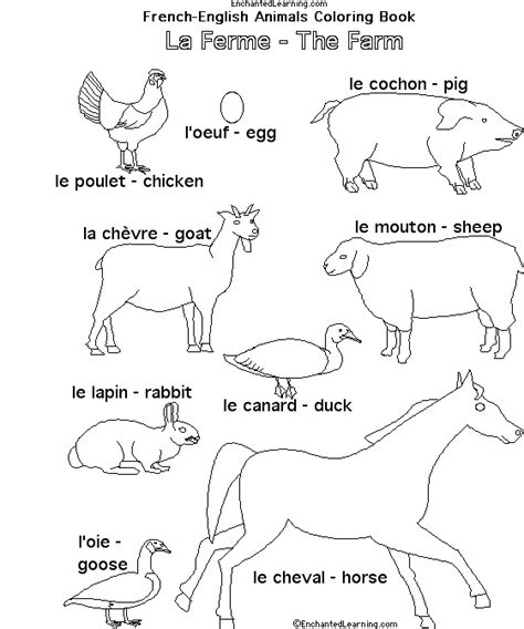 7 Letter Word Animal Names Farm Animals In Enchantedlearning Languages
