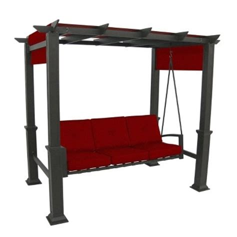 target swings target pergola 3 person patio swing red image zoom